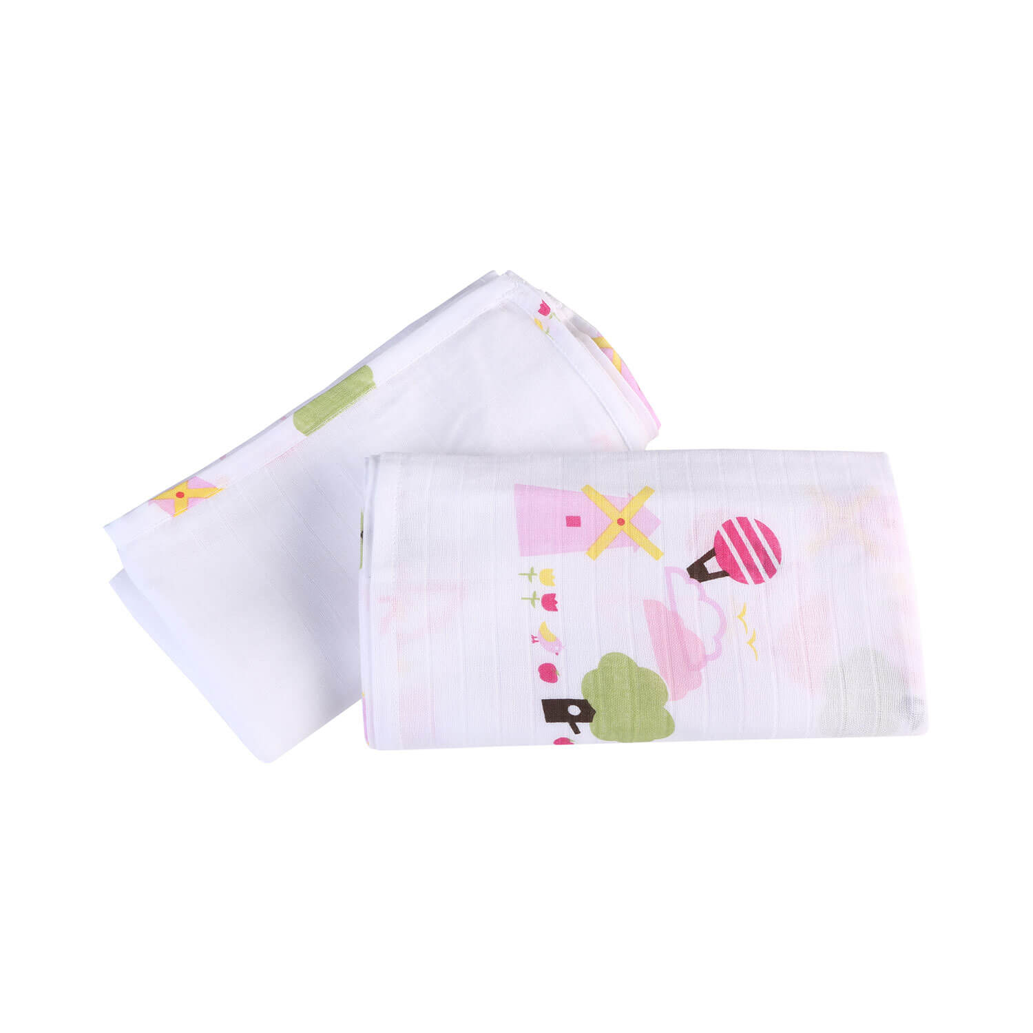My Milestones Muslin Baby Swaddle 2pc Set - Dutch Country Pink