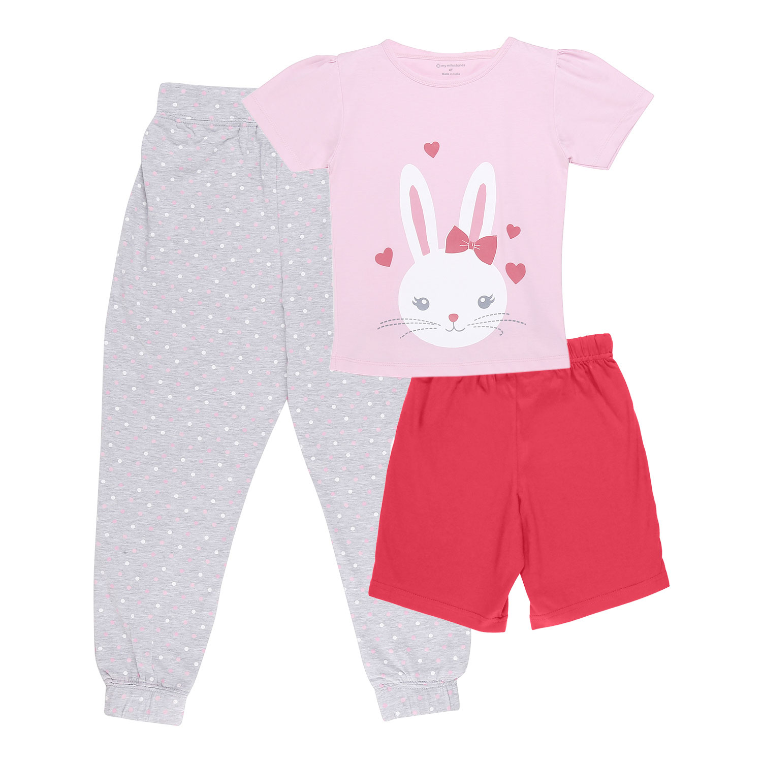 My Milestones Girls 3pcs Lounge Set - Bunny Pink