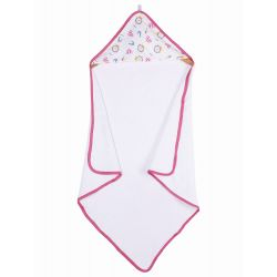 My Milestones Infant Hooded Towel Wrap - Carnival White/Pink