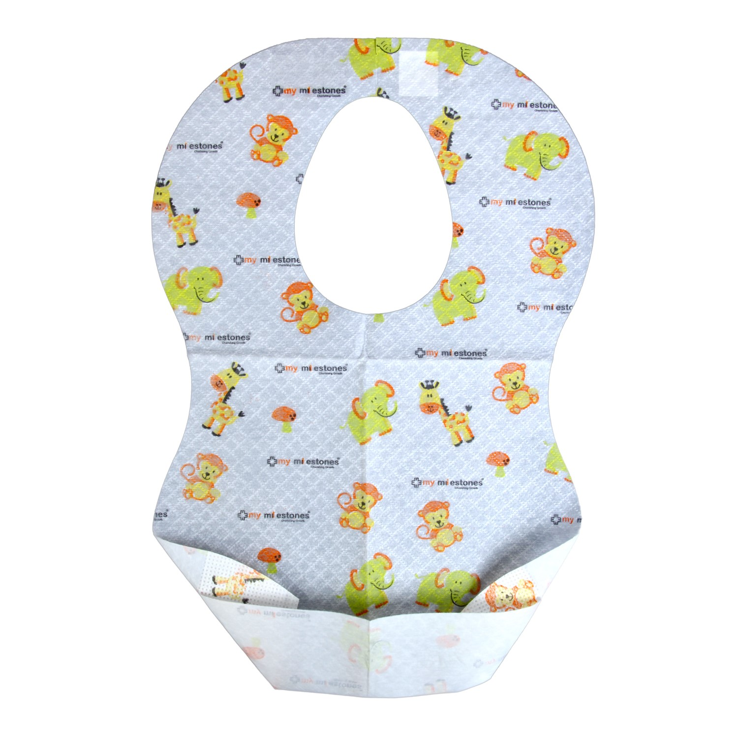My Milestones Disposable Non-Woven Laminated Soaking-Proof Bibs with Crumb Catcher - Pack of 24