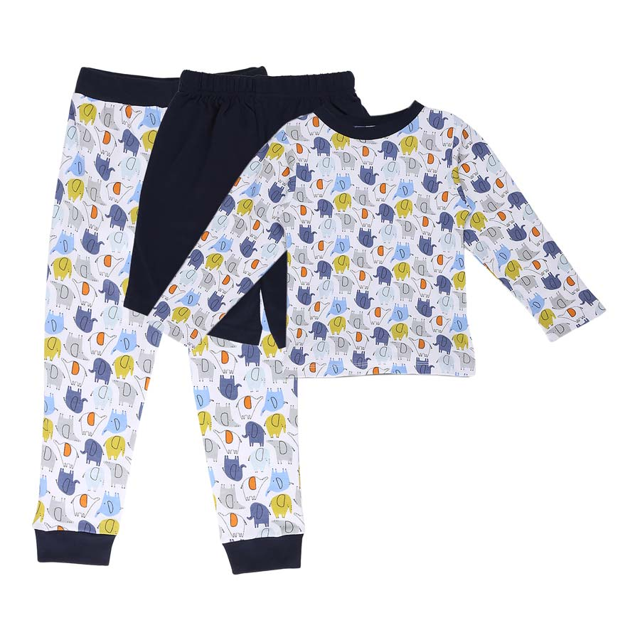 My Milestones Boys 3pcs Lounge Set - Elephant Blue