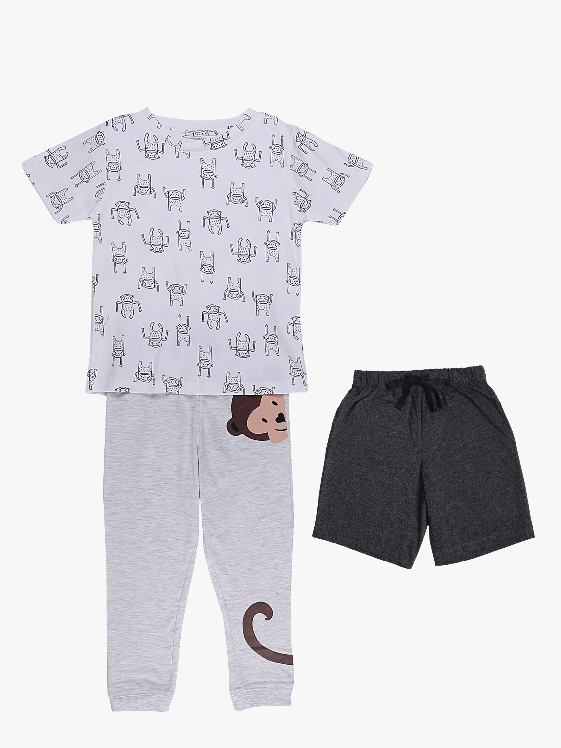 My Milestones Boys 3pcs Lounge Set - Monkey Grey/White
