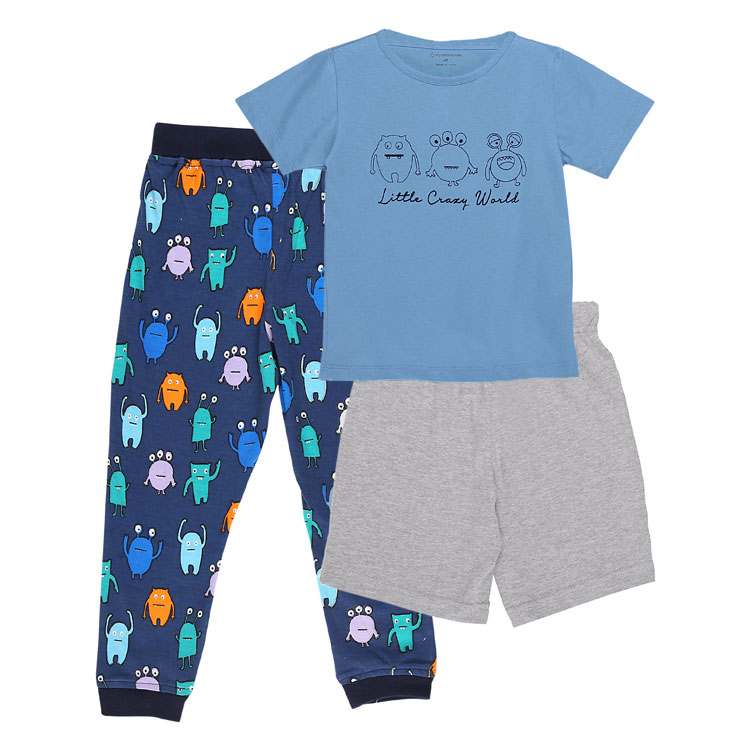 My Milestones Boys 3pcs Lounge Set - Monster Blue