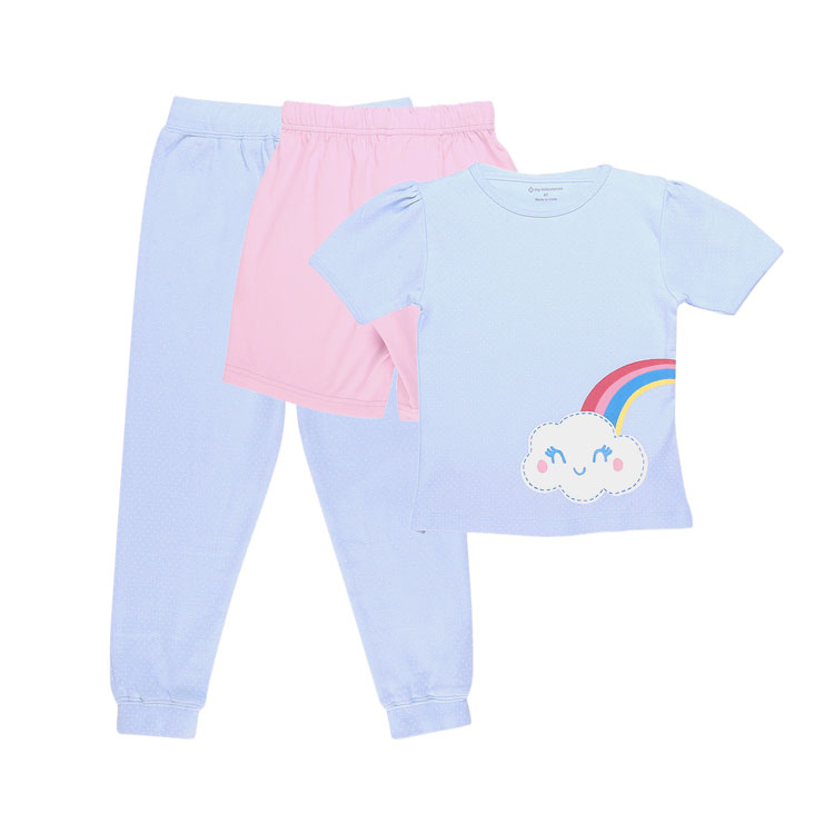 My Milestones Girls 3pcs Lounge Set - Rainbow Blue/Pink