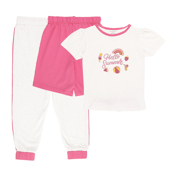My Milestones Girls 3pcs Lounge Set - Summer Grey/Pink