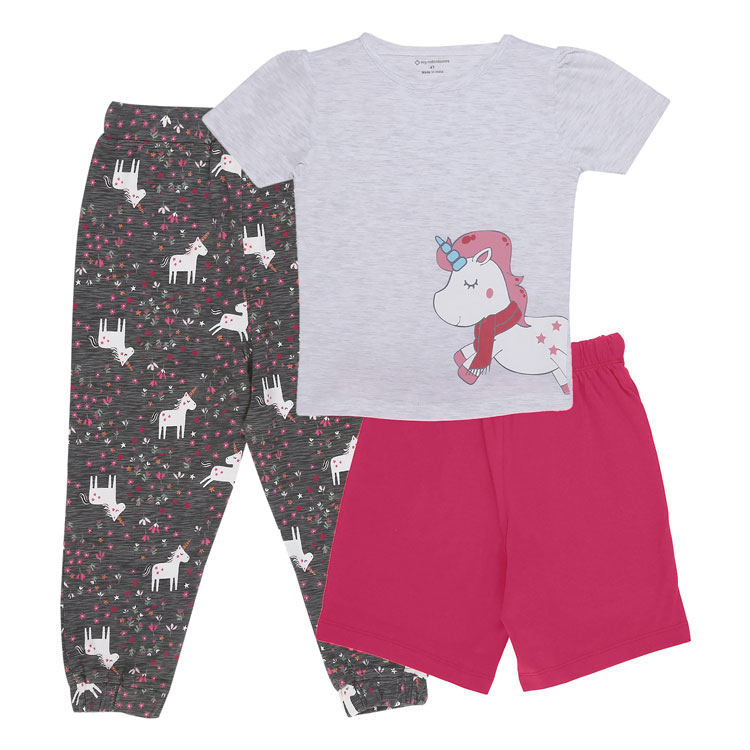 My Milestones Girls 3pcs Lounge Set - Unicorn Grey/Pink