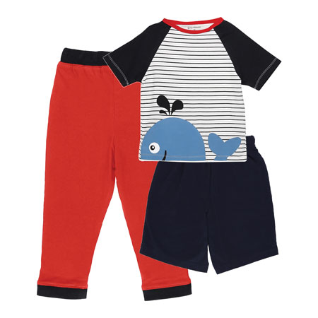 My Milestones Boys 3pcs Lounge Set - Whale Blue/Red