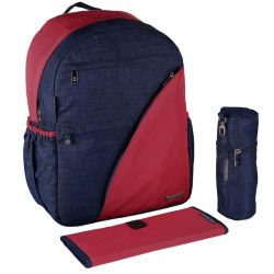 My Milestones Suave Backpack Baby Diaper Bag/Mothers Bag - Denim-Maroon