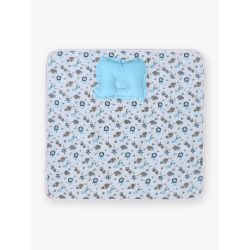 My Milestones Nursery Play Mat With Pillow - Zoo Print- Blue