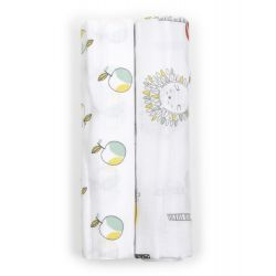 My Milestones Muslin  Swaddles- Fruits and Forest 2 pc set
