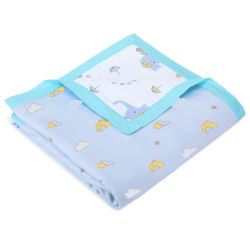 My Milestones Muslin Blanket 3 Layered -  Clouds and Elephant