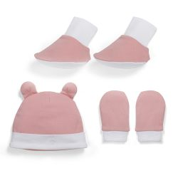 My Milestones Accessories (Cap, Mittens, Booties) Value Set 3 pcs - Peach