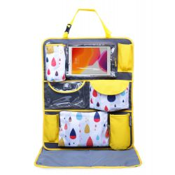 My Milestones Car Seat/Travel Organizer - Raindrop Yellow