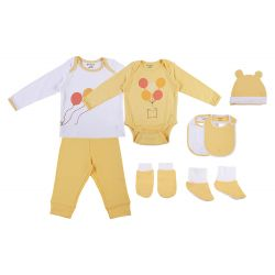 My Milestones Infant Clothing 8pc Gift Set Full Sleeves - Yellow