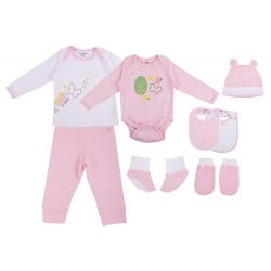 My Milestones Infant Clothing 8pc Gift Set Full Sleeves - Pink