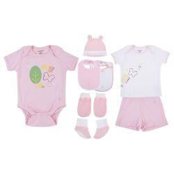My Milestones Infant Clothing 8pc Gift Set Short Sleeves - Pink