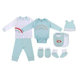 My Milestones Infant Clothing 8pc Gift Set Full Sleeves - Aqua