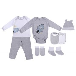 My Milestones Infant Clothing 8pc Gift Set Full Sleeves - Grey