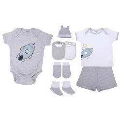 My Milestones Infant Clothing 8pc Gift Set Short Sleeves - Grey