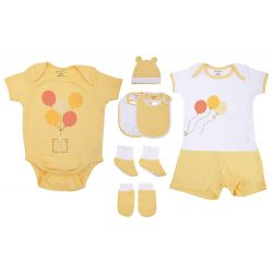 My Milestones Infant Clothing 8pc Gift Set Short Sleeves - Yellow