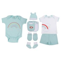 My Milestones Infant Clothing 8pc Gift Set Short Sleeves - Aqua