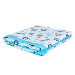 My Milestones Muslin Baby 3 Layered Blanket - Zoo Blue