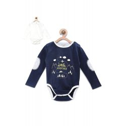 My Milestones Bodysuit Gift Set Full Sleeves 2 pcs-White/Navy Blue - 0-6M