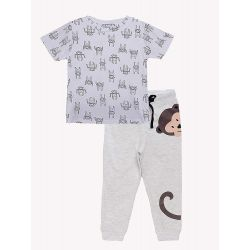 My Milestones Kids Lounge Set 2pcs - Boys - Monkey - Grey/White - 4 Years
