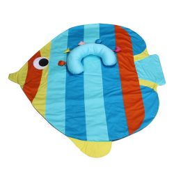 My Milestones Tummy-Time Playmat With Sensory Pillow - Rainbow Fish-Blue
