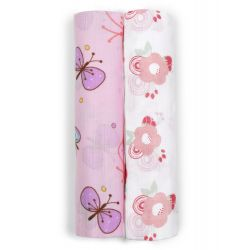 My Milestones Muslin  Swaddless- Flowers and Butterfly 2 pc set
