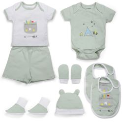 My Milestones Infant boys Essentials Gift Set Short Sleeves - Sage Green 8 pcs - 0-6M