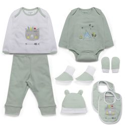 My Milestones Infant Boys Essentials Gift Set Full Sleeves - Sage Green 8 pcs - 0-6M