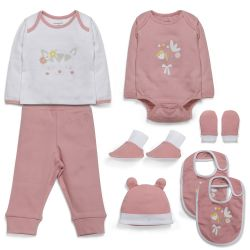 My Milestones Infant Girls Essentials Gift Set Full Sleeves - Peach 8 pcs - 0-6M