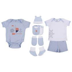 My Milestones Infant Clothing 8pc Gift Set Short Sleeves - Blue