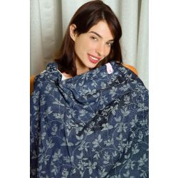 My Milestones Feeding/Nursing Apron - Denim Jacquard
