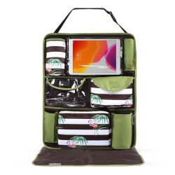 My Milestones Car Seat/Travel Organizer - Flamingo Green
