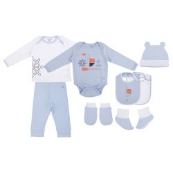 My Milestones Infant Clothing 8pc Gift Set Full Sleeves - Blue