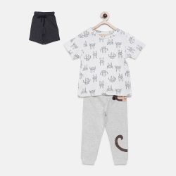 My Milestones Boys 3pcs Lounge Set - Monkey Grey/White - 3 Years