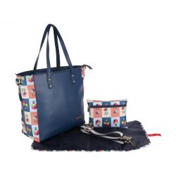 My Milestones High Street Leather Tote Diaper Bag - Navy Mashal