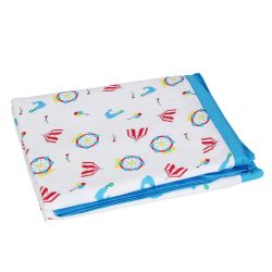 My Milestones 100% Cotton Muslin Baby 2 layered Blanket - Carnival T Blue - 01