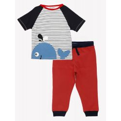 My Milestones Kids Lounge Set 2pcs - Boys - Whale Blue/Red - 2 Years